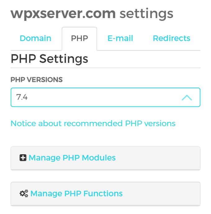 WPX Hosting PHP Settings
