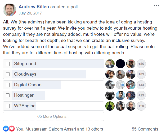 WordPress Hosting Facebook Poll