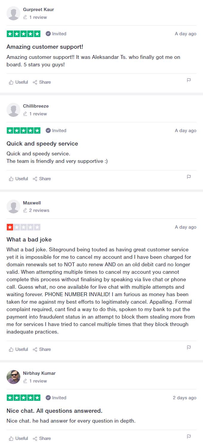 siteground trustpilot review