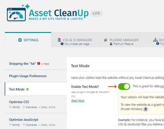 Asset CleanUp Test Mode