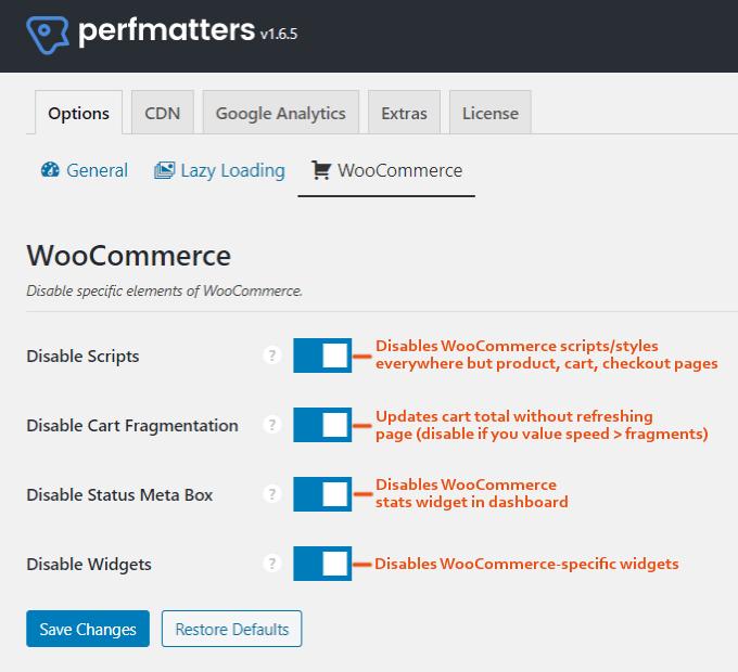 Perfmatters WooCommerce Settings