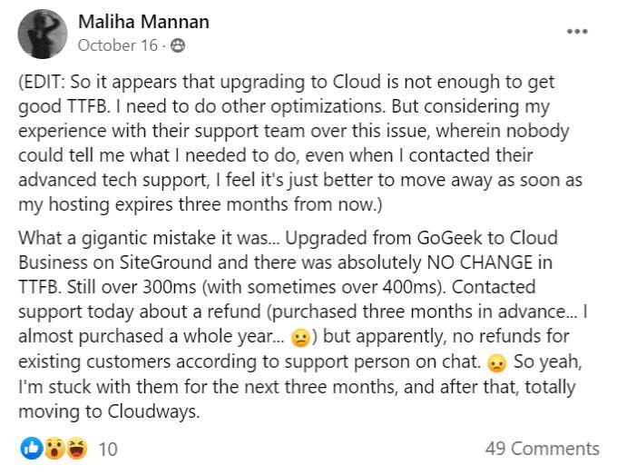 SiteGround cloud hosting slow TTFB