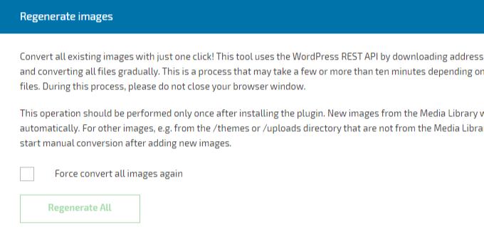 Regenerate WebP Images