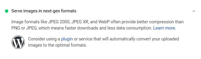 Serve Images In next-gen formats wordpress