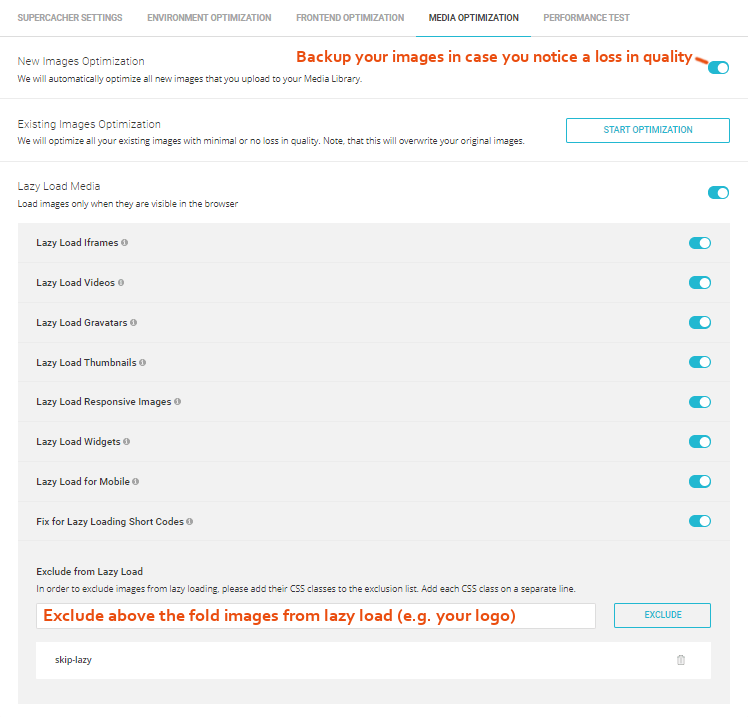 SG Optimizer Media Optimization Settings