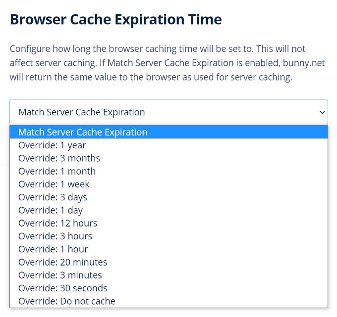 BunnyCDN Browser Cache Expiration