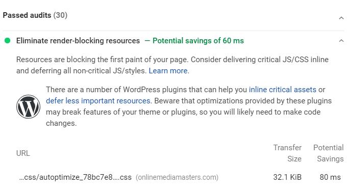 Eliminate Render-Blocking Resources WordPress - Passed Audit