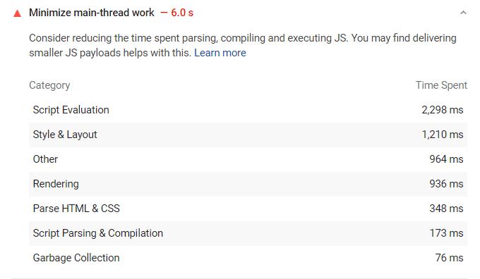 Minimize Main-Thread Work WordPress