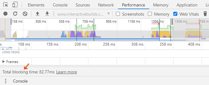 Total Blocking Time - Chrome Dev Tools