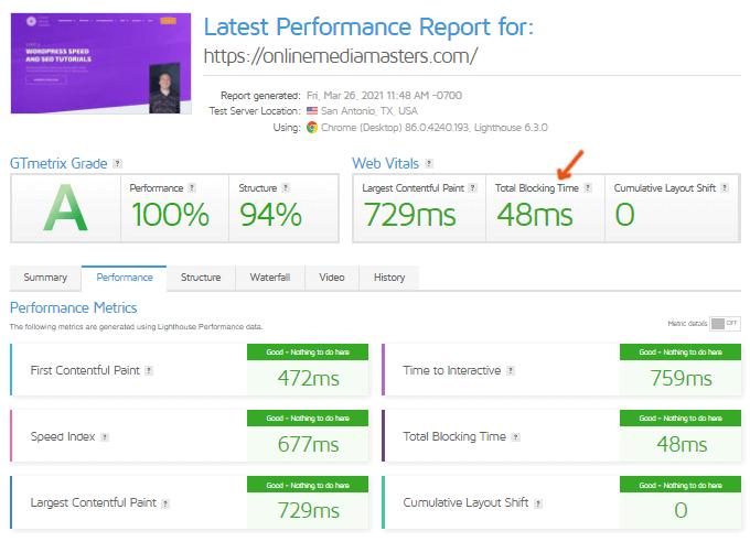 Total Blocking Time WordPress - GTmetrix Report