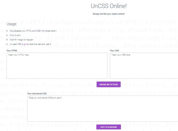 UnCSS - Remove Unused CSS Tool