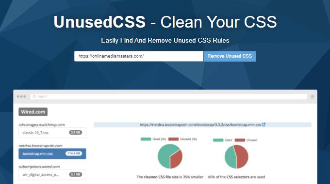UnusedCSS - Remove Unused CSS Tool