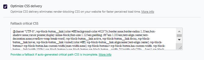 WP Rocket fallback critical CSS