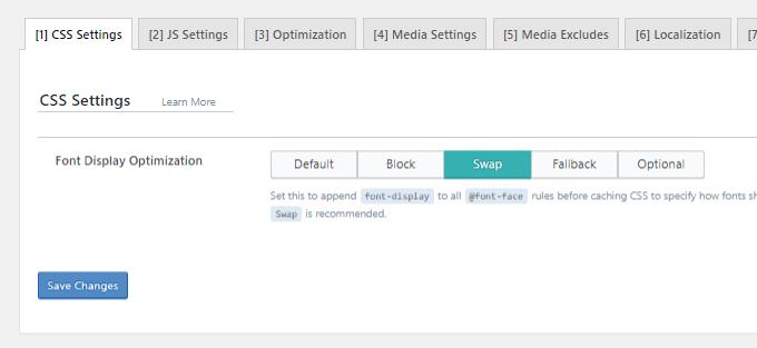 Font Display Swap - LiteSpeed Cache