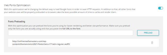 Fonts Preloading - SG Optimizer
