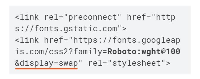 Google Fonts Display Swap