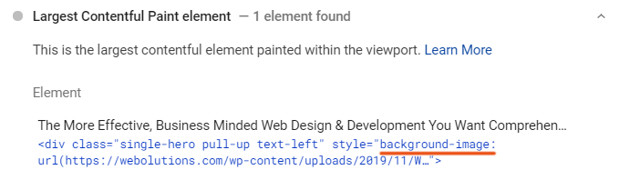 Largest Contentful Paint WordPress Element - Background Image