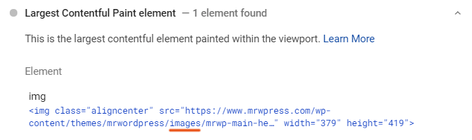 Largest Contentful Paint WordPress Element - Image