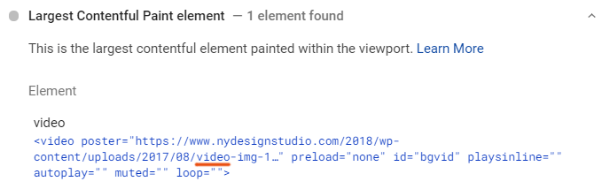 Largest Contentful Paint WordPress Element - Video