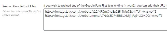 Preload Google Font Files - Asset CleanUp