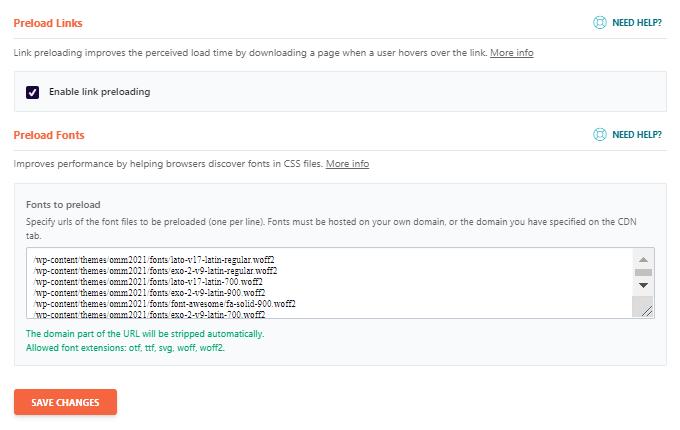 WP Rocket Preload Links Fonts