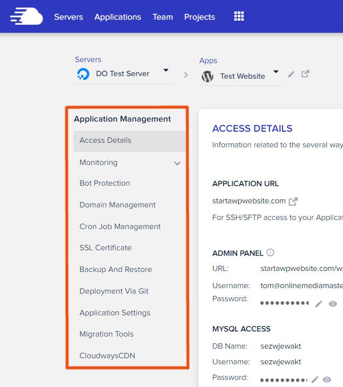 Cloudways Application Settings