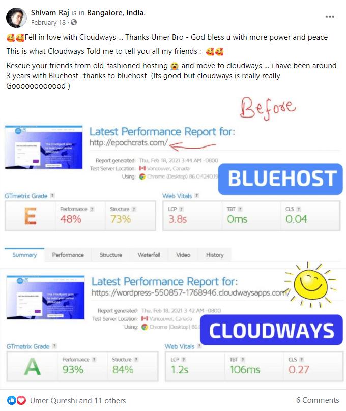 Cloudways vs Bluehost GTmetrix