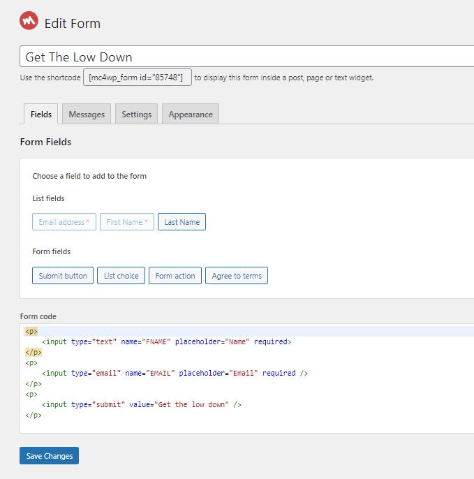 MailChimp WordPress Plugin Form