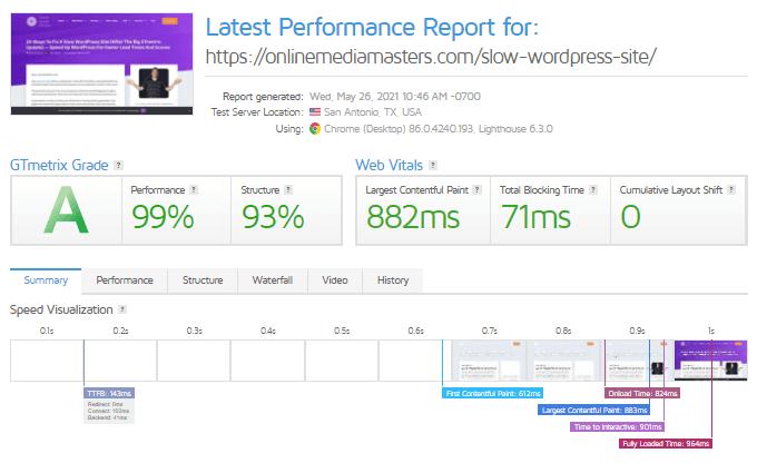 OMM GTmetrix Performance Report