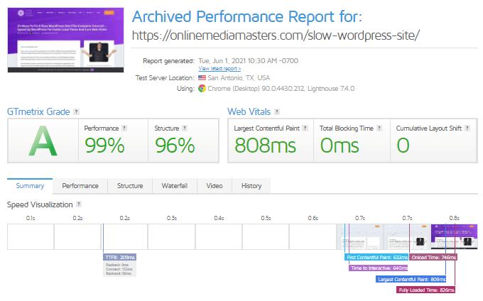 GTmetrix Report - OMM