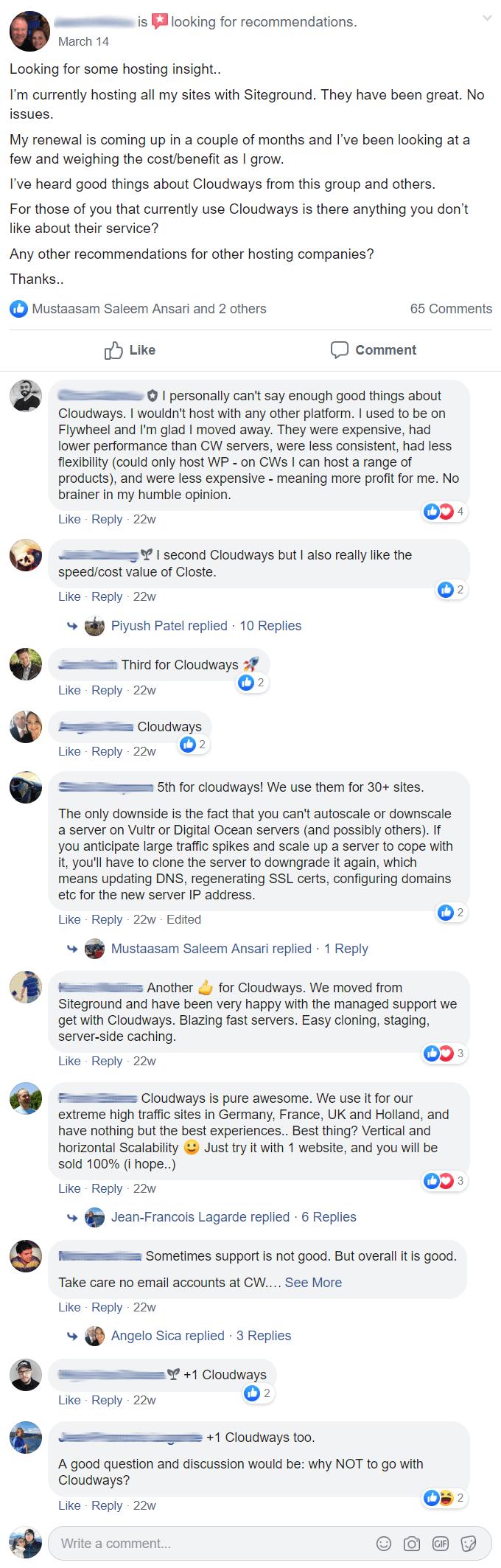 Hosting recommendations - Facebook thread