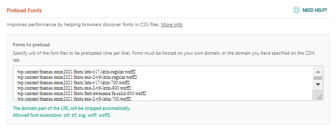 Preload fonts WP Rocket