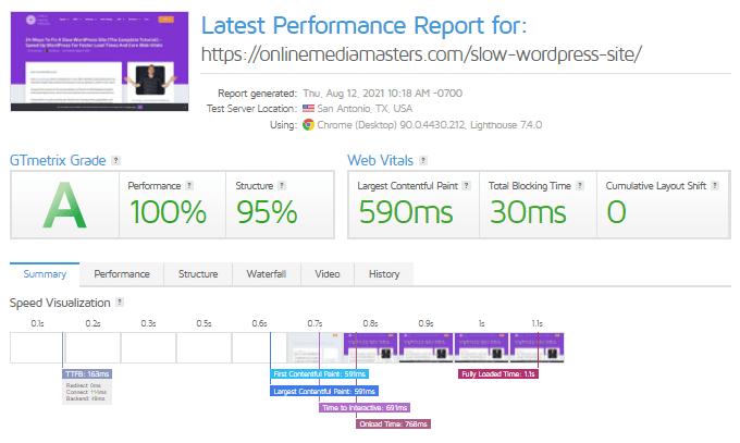 Latest OMM GTmetrix Report