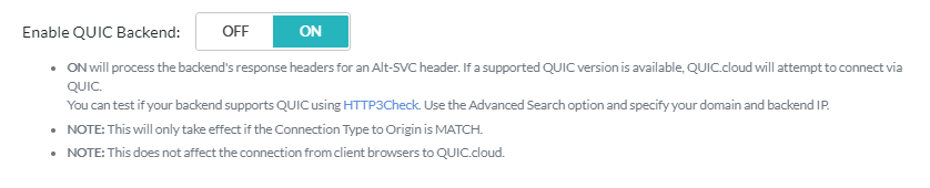 Enable QUIC Backend