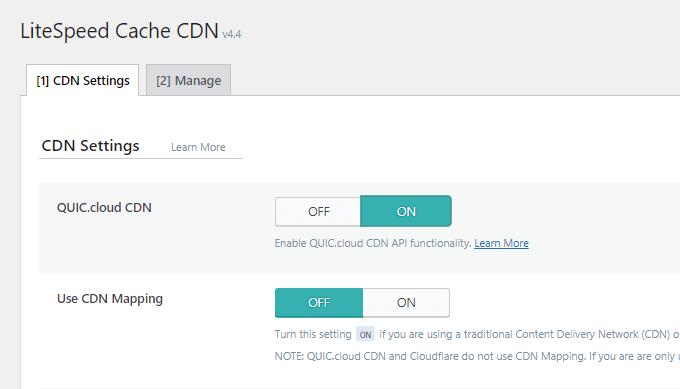 LiteSpeed Cache CDN Settings