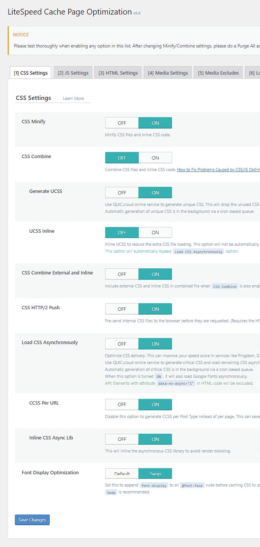 LiteSpeed Cache CSS Settings