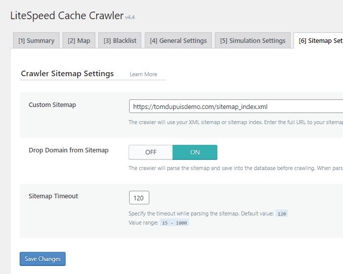 LiteSpeed Cache Sitemap Settings