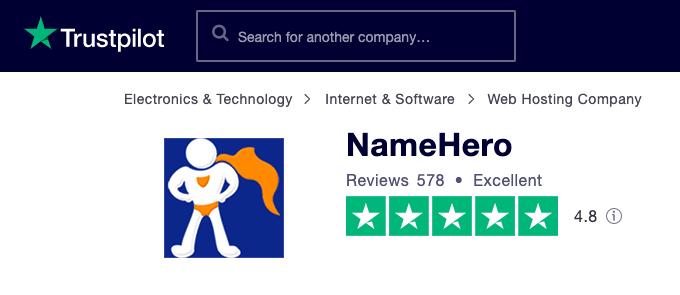 NameHero Reviews - TrustPilot