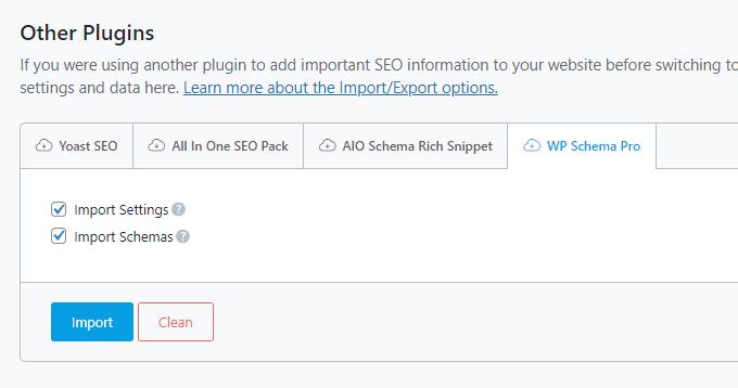 Import WP Schema Pro to Rank Math