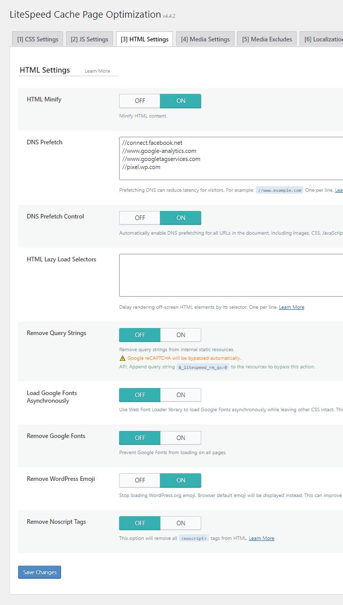 LiteSpeed Cache HTML Settings