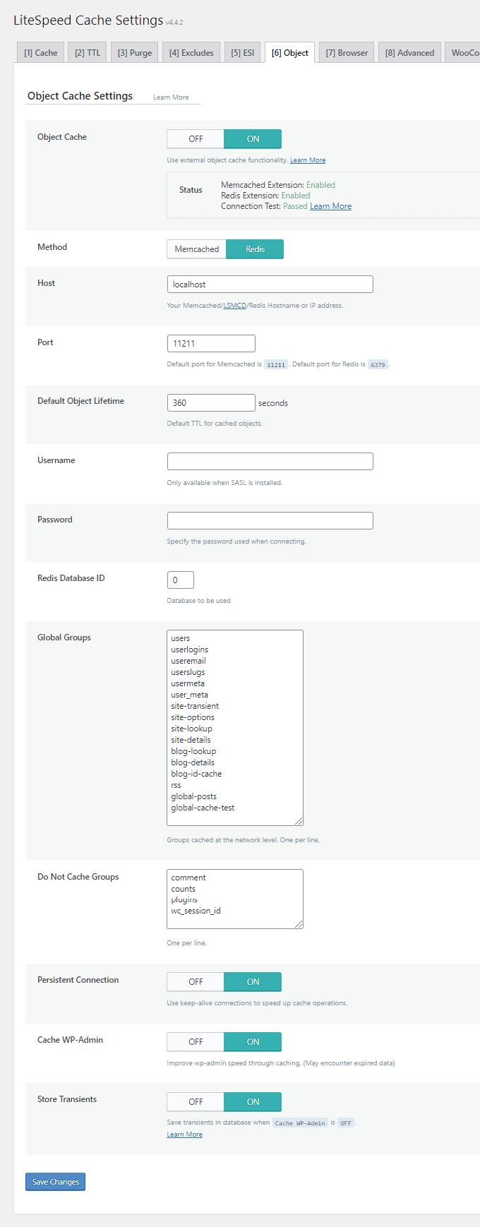 LiteSpeed Cache Object Cache Settings