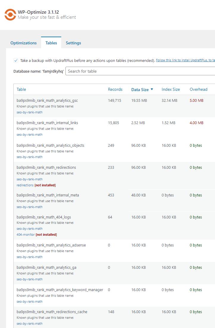 Rank Math Database Bloat