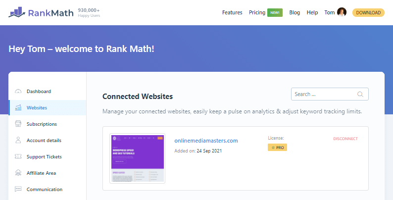 Rank Math Pro Connected Websites