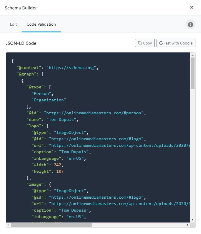 Schema Code Validation